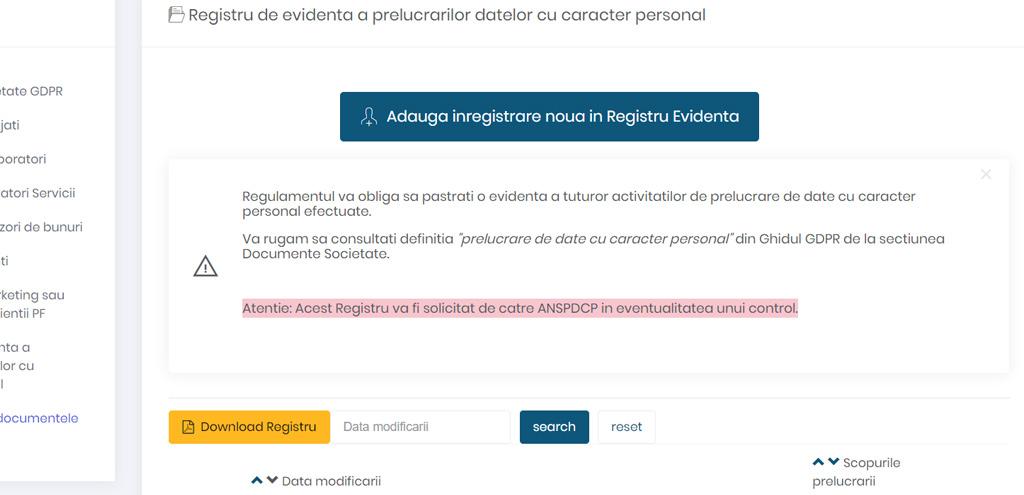 Registru de evidenta a prelucrarii datelor cu caracter personal prelucrari GDPR